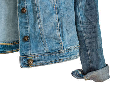 bottom of Blue denim woman jacket. Clothes fragment isolated on white background Stock fotó