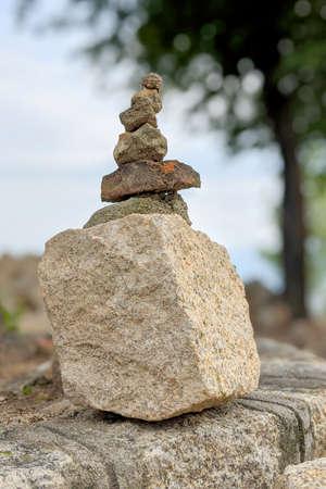 pyramide made of stones. Natural view Banco de Imagens