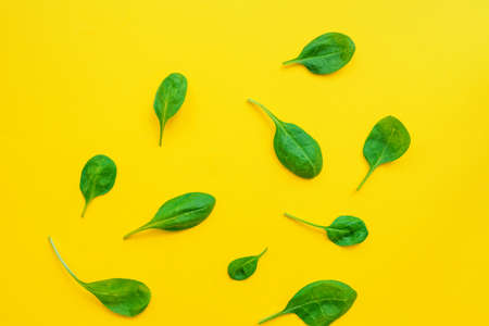 Food background of spinach leavs on yelow background.