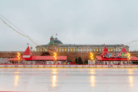 MOSCOW, RUSSIA - December 18, 2019: Gum Ice Rink on Red Square