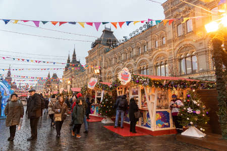 MOSCOW, RUSSIA - December 18, 2019: Christmas decorations and Fair on Red Square in Moscow