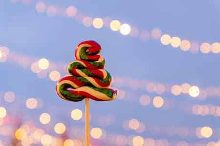 Sweet candy on a stick in shape of christmas tree. Christmas treats: colorful lollipops in the form of spruce.