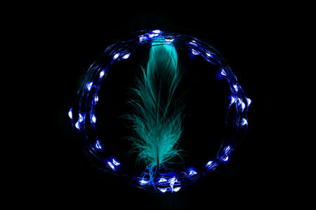 Blue feather in the circle of holiday celebration light garland on black background. Romantic Valentines day cards, invitations or posters