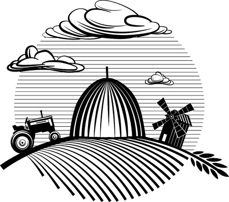 Agriculture landscape with haystack Vector illustration in the engraving manner. Picture can be used for design labels and package.