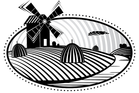 linocut: Agriculture landscape with mill Vector illustration in the engraving manner. Picture can be used for design labels and package.  Illustration