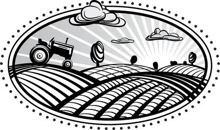 Agricultura paisaje con ilustración vectorial tractor en la forma de grabado. Imagen se puede utilizar para diseñar etiquetas y embalajes. Ilustración de vector