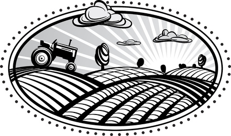 Krajobraz rolnictwo ciągnik z ilustracji wektorowych w sposób grawerowania. Obraz może być używany do projektowania etykiet i ulotek. Ilustracje wektorowe
