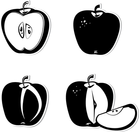Set of vector decorative apple. Black and white vector decorative illustration for graphic design