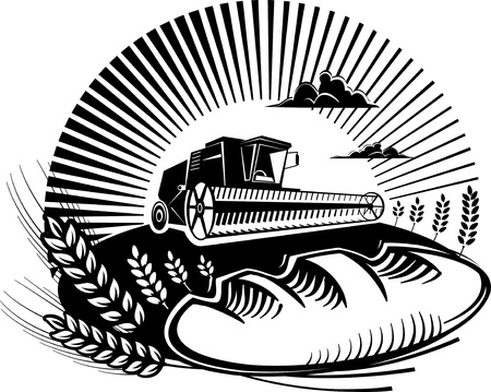 woodcut: Bread with wheat and combine harvester in a field. Vector illustration in the engraving manner. Picture can be used for design labels and package.