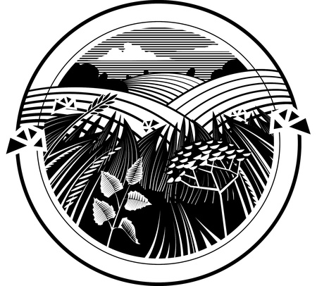 Rural landscapes with field of blooming flowers.  illustration in the engraving manner. Picture can be used for design labels and package