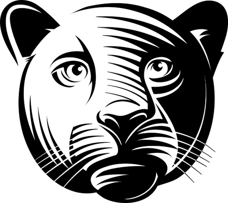Panther head. illustration in the engraving manner. Picture can be used for symbols and labels design, and also for print on t-shirts. Illustration