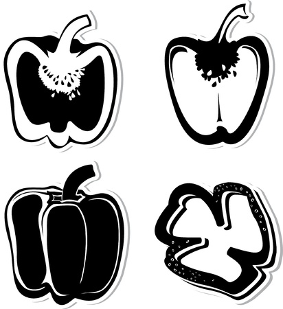 Set of  decorative peppers. Black and whitedecorative illustration for graphic design Illustration