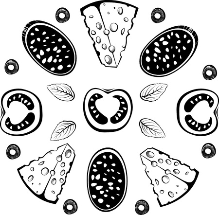 pizza ingredients: Ingredients for pizza with salami. illustration in the engraving style, can be used for design labels and package