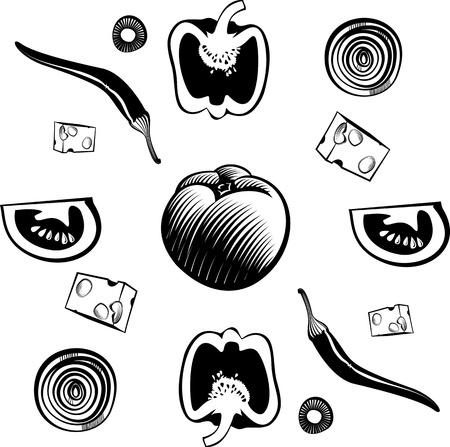 tomato slices: Ingredients for vegetable pizza. illustration in the engraving style, can be used for design labels and package