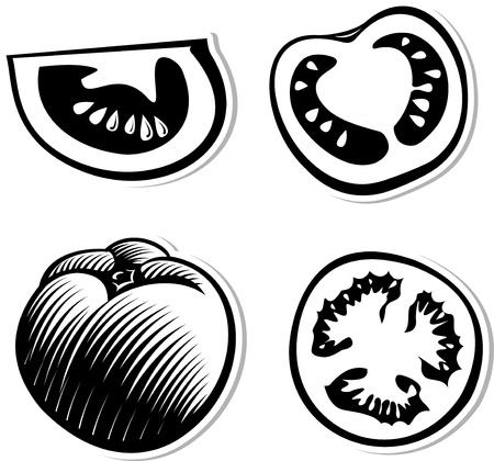 Set of decorative tomatoes. Black and white decorative illustration for graphic design Illustration