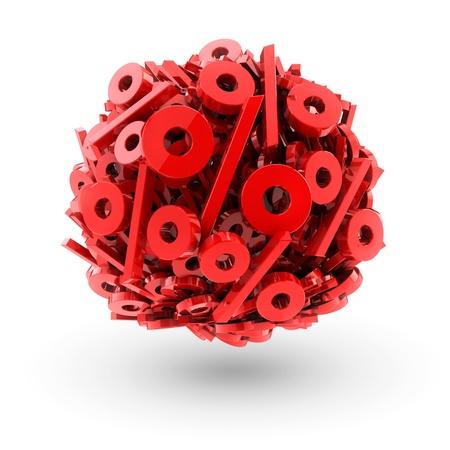 perdidas y ganancias: muchos por ciento rojo en forma de esfera aislada en el fondo blanco Foto de archivo