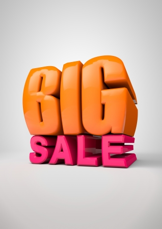 BIG SALE 3d text on light gray background Stock Photo