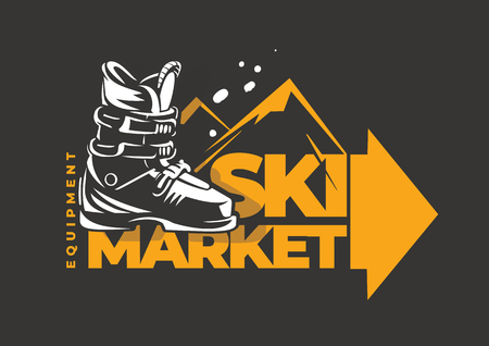 Ski market emblem. Freeride boots. Skiing equipment and accessories