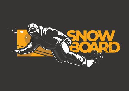 Snowboarder man riding on slope. Winter sport label on the dark background