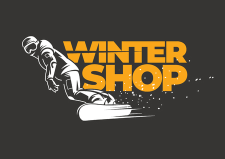 Winter shop emblem for an active winter sport. Snowboarder slides down the slope.