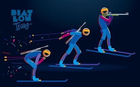 Biathlon. Vector color line icons Illustration