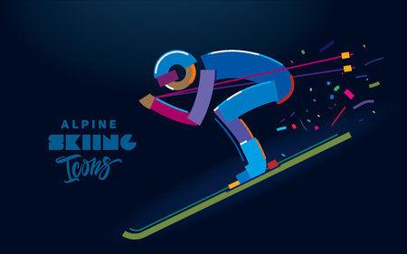 Alpine skiing. Stylized skier speeds down the mountains. color line icons Stock Photo