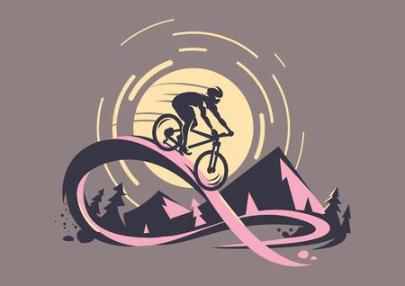 Trail ride tour. Mountain bike emblem Illustration