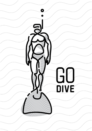diver man. continuous line style Illustration