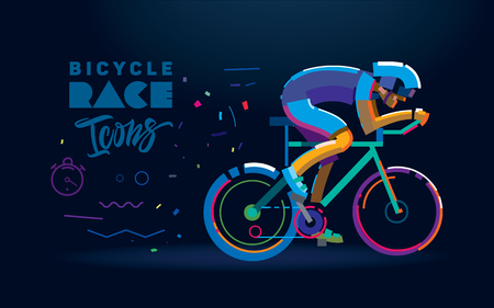 cyclist. Cycling race illustration. Flat style Archivio Fotografico