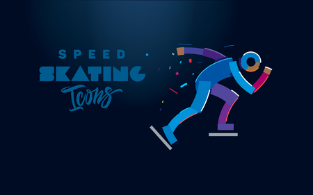 Speed skating. Vector color line icons on the dark background