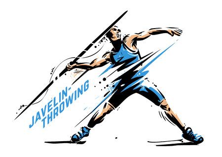 Lancio del giavellotto. Pausa dinamica. Illustrazione vettoriale di sport per la stampa Vettoriali