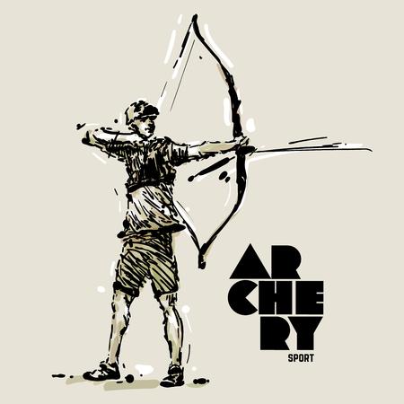 Archery. Sketch style vector illustration