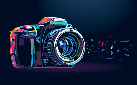 Photo camera. Banner in a digital painting Vectores