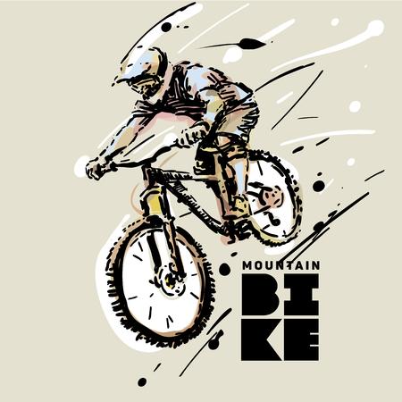 Downhill. Mountain bike. Sketch style vector illustration