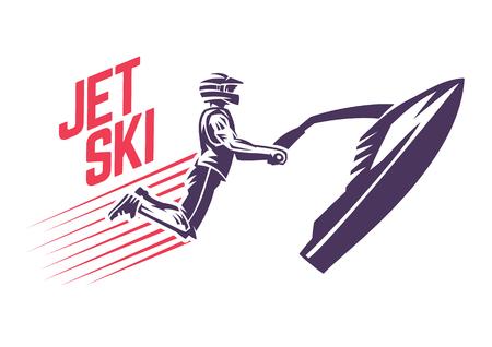 Jet skier in a jump. Sport emblem