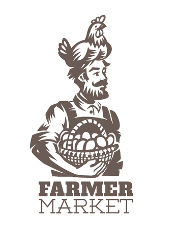 Peasant with hen on his head and basket with eggs. Farmer emblem