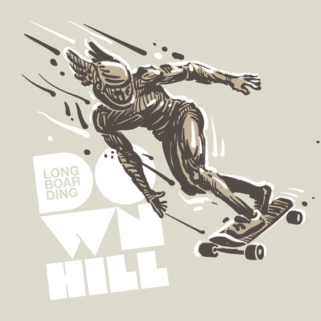 Downhill skateboard racing. Sketch style vector illustration