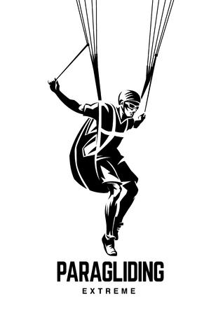 Paragliding. Sport black and white emblem