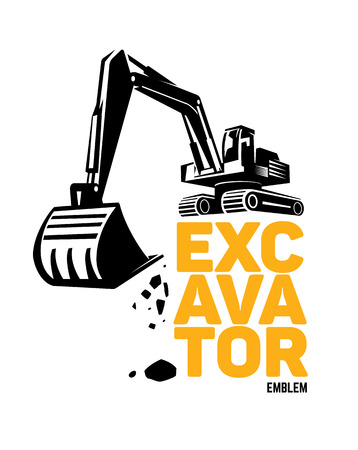 Stylized excavator. Vector illustration emblem
