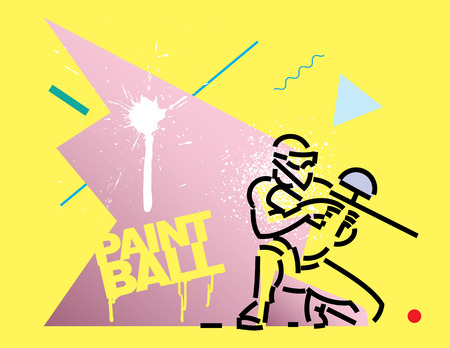 paintball player. Flat outline design style