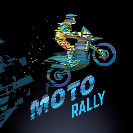 Sport emblem on the topic Moto rally. Glitch style  イラスト・ベクター素材