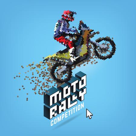 Moto Rally. Vector pixel art illustration