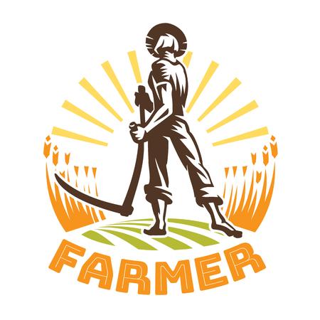 Un fermier avec une faux dans un champ. Emblème de fermier Vecteurs