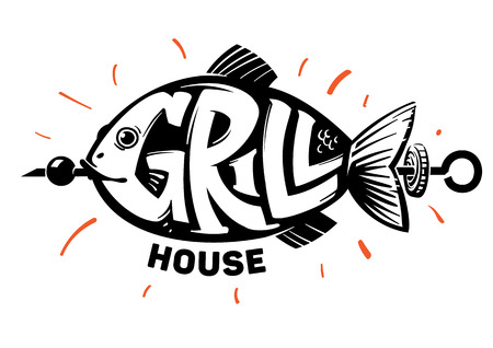 Fish lettering. Grill house emblem