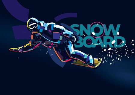 Snowboarder man riding on slope on the dark background. Banner in a digital painting