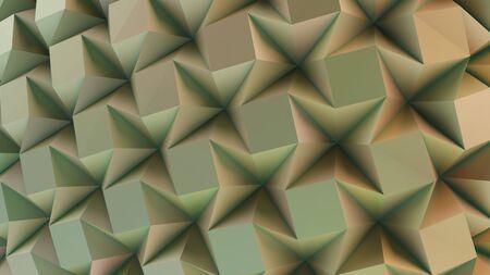 Green folding paper. Origami background. 3D illustration Imagens