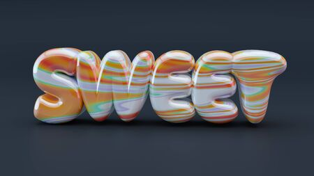 Sweet caramel letters. 3D illustration Stock Photo