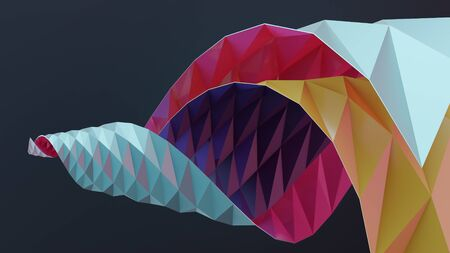 Twisted paper. Origami abstract background. 3D illustration Stock Photo