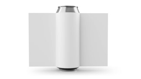 Aluminum cans with label Isolated on white. 3D rendering Stock Photo