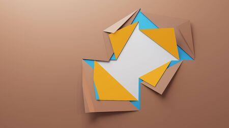 Paper hole. Multi layer effect. Cut rhombus. 3D illustration